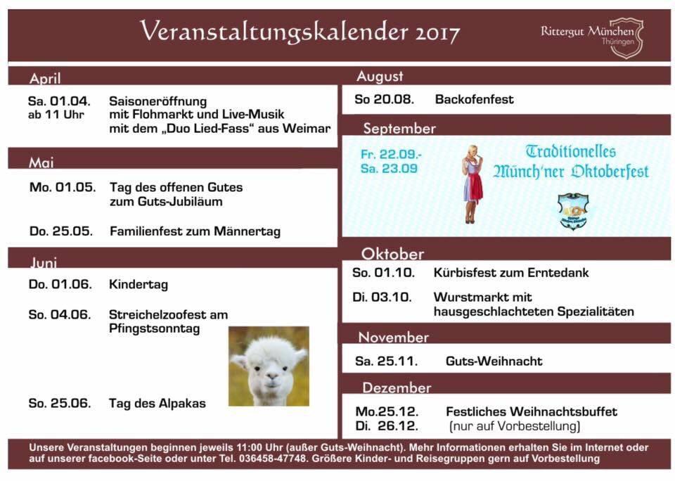 Veranstaltungen 2017 auf dem Rittergut München