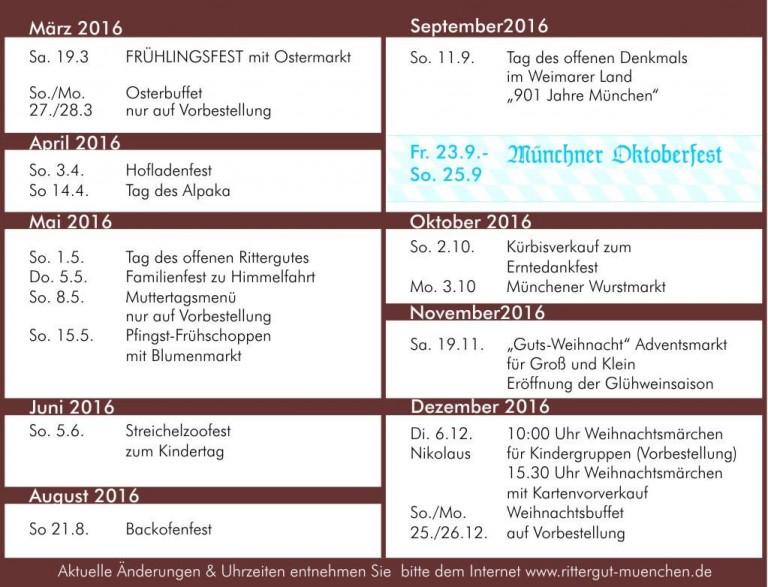 Veranstaltungsplan 2016 auf dem Rittergut München